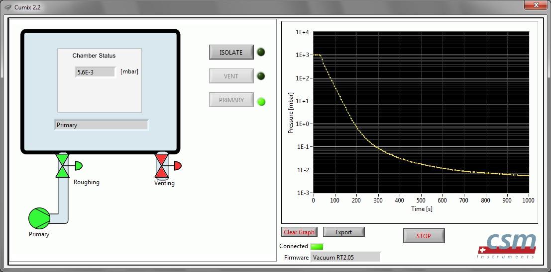 Окно программы управления вакуумной камерой