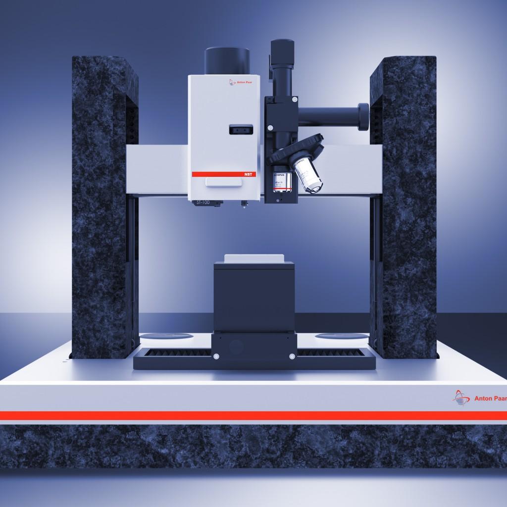 Нано-скретч тестр NST (первый слева) с Нанотвердомером, AFM на Открытой платформе OPX с Видеомикроскопом