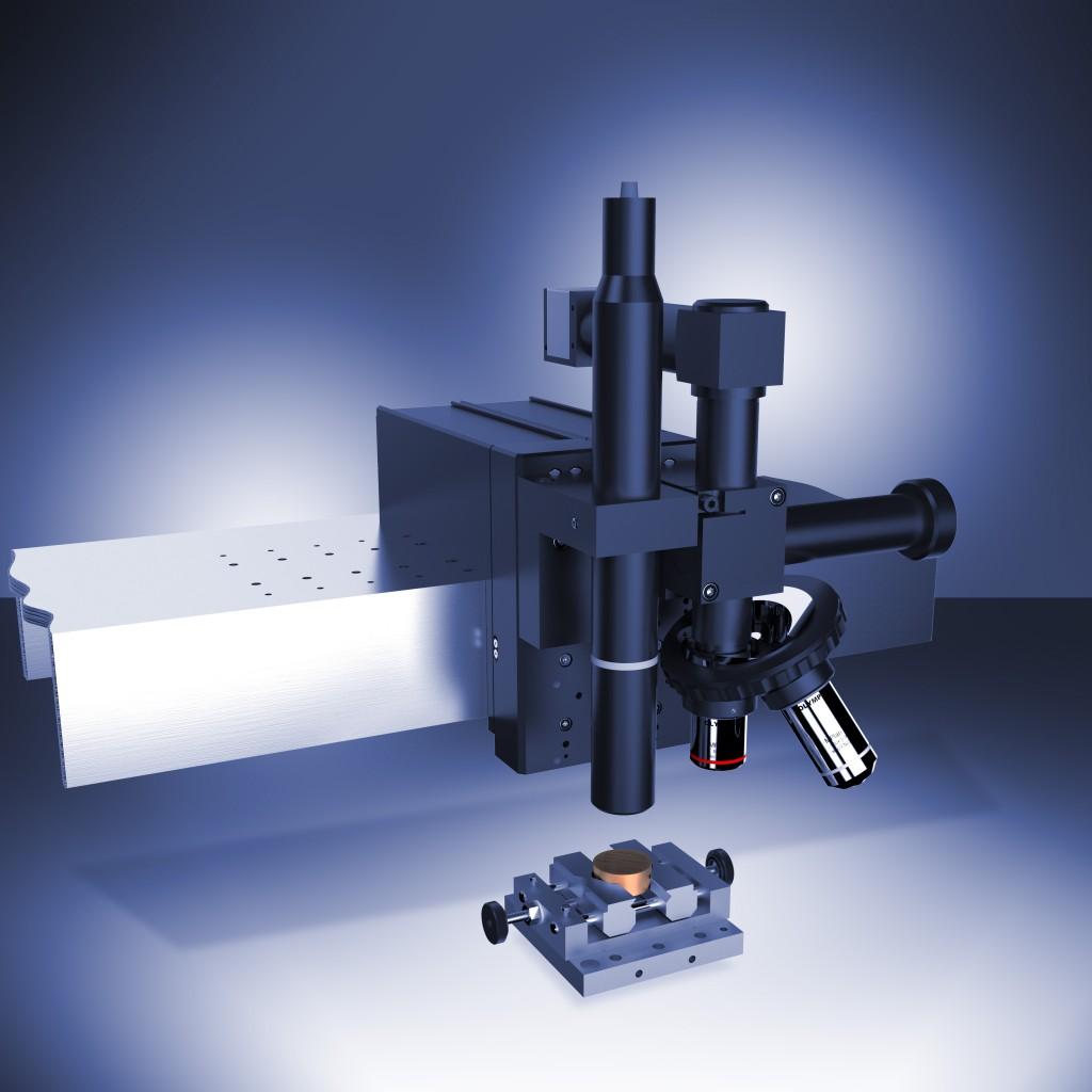 Конфокальный профилометр Con Scan с Микро-комби-тестером (слева) и оптическим микроскопом (справа) на платформе Anton Paar TriTec