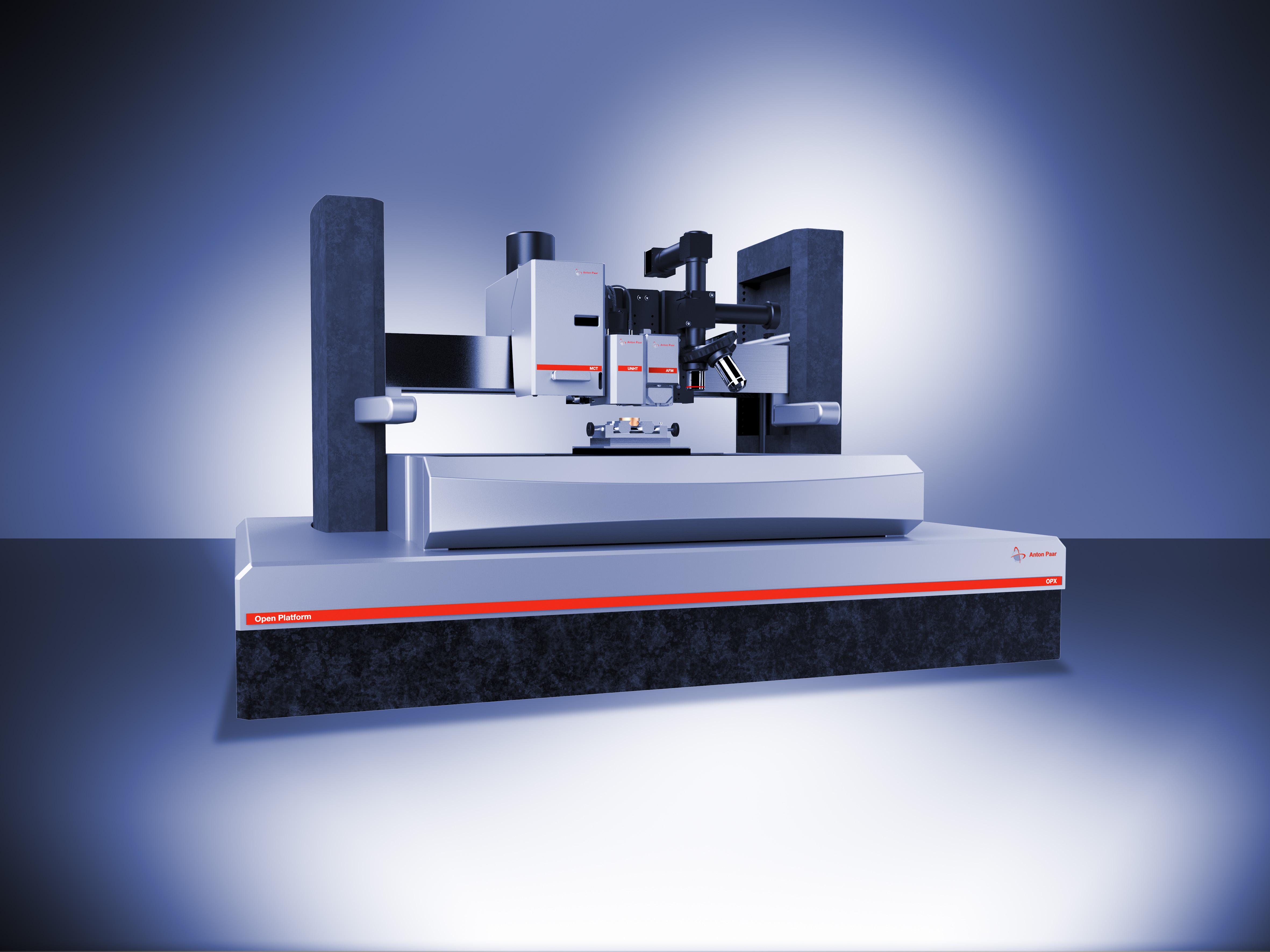 Рис.3: Микротвердомер МHT на Открытой платформе с Ультра-Нанотверодмером NHT2, Атомно силовым микроскопом WideScan AFM и видеомикроскопом