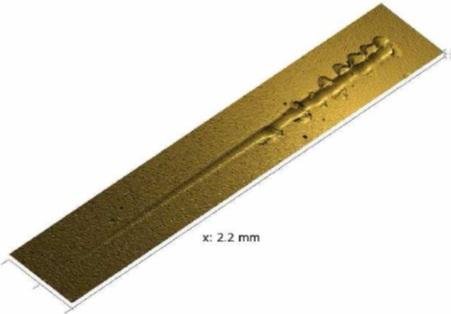 3-D - изображение ConScan 2-мм царапины на образце TiN